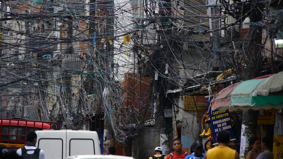 Electric wires in a slum in Brazil in a scene from PANDORA'S PROMISE. Photo credit: Robert Stone.