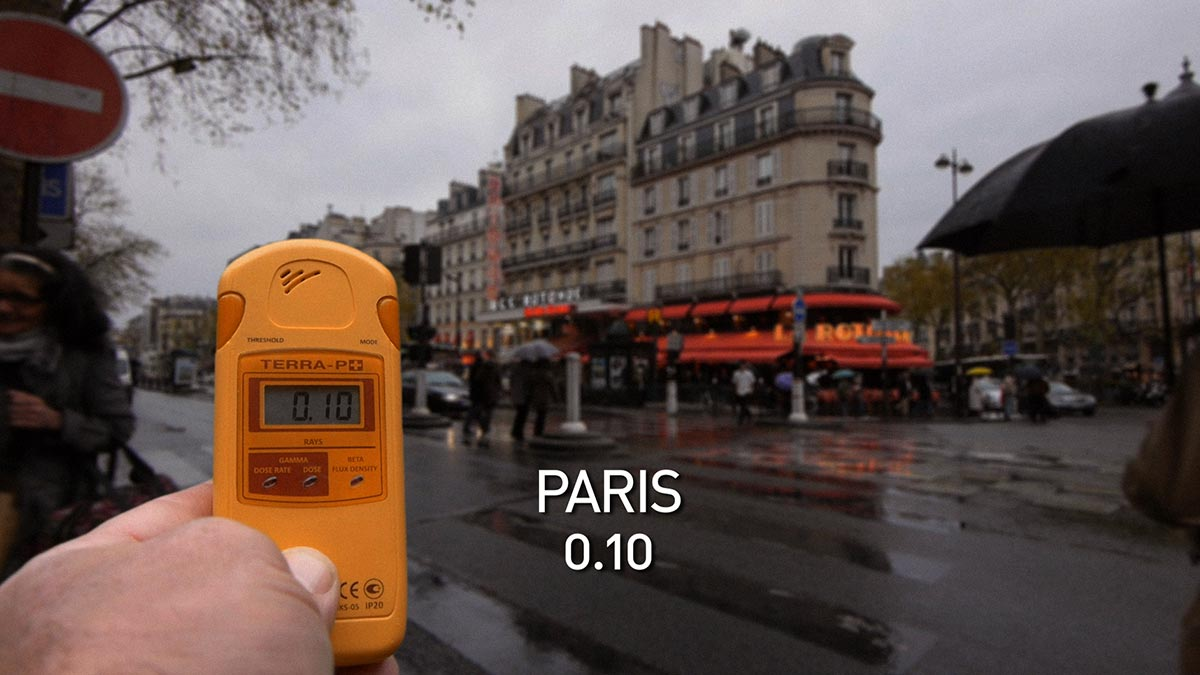 A geiger counter records the radiation level on a Paris street in a scene from PANDORA'S PROMISE.  Photo: Robert Stone