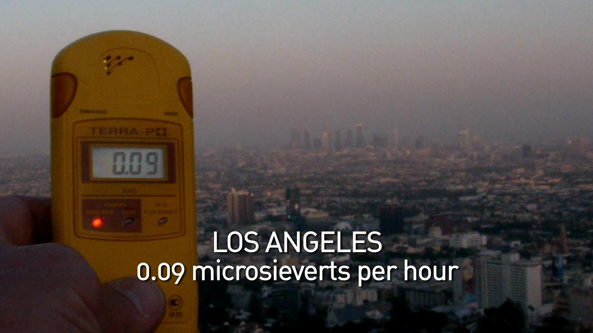 A geiger counter records the radiation level in Los Angeles in a scene from PANDORA'S PROMISE.  Photo: Robert Stone
