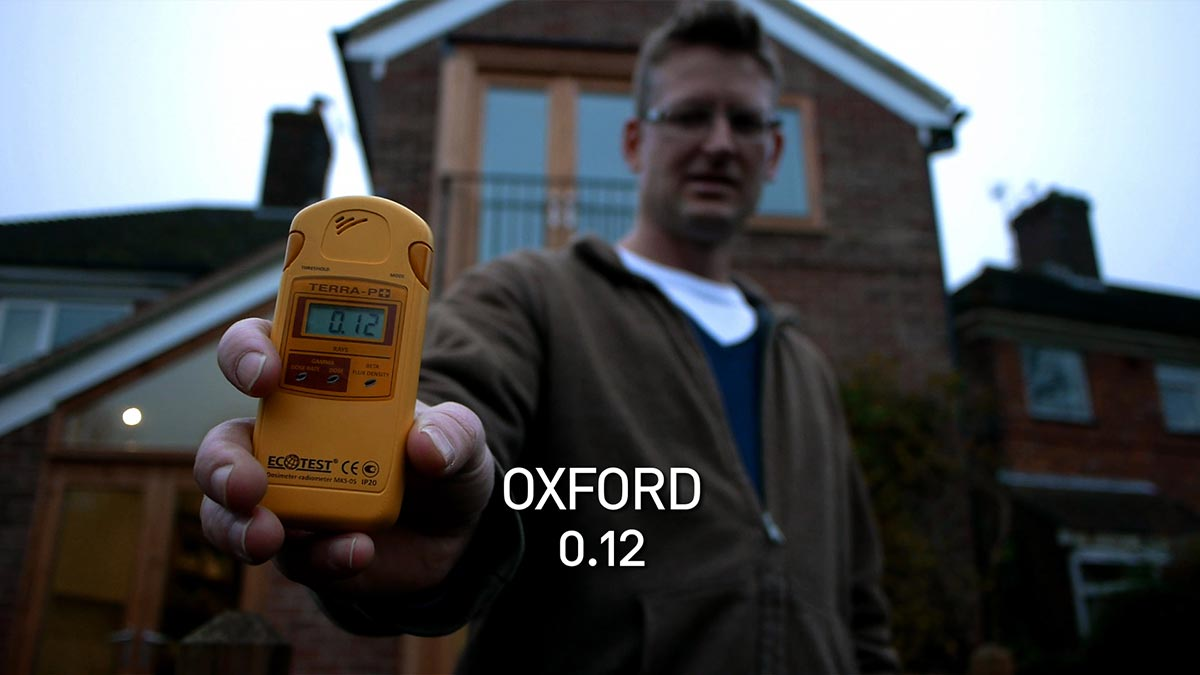 Mark Lynas records the radiation level in Oxford with a geiger counter in a scene from PANDORA'S PROMISE.  Photo: Robert Stone