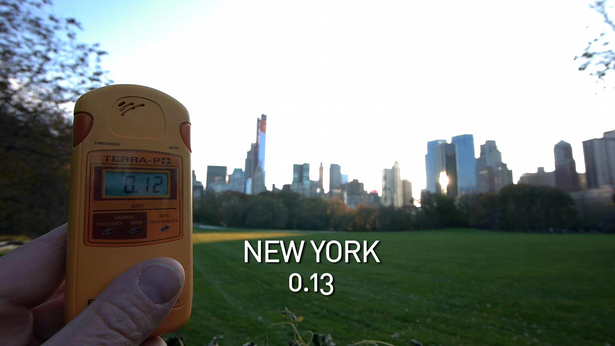 A geiger counter records the radiation level in Central Park in a scene from PANDORA'S PROMISE.  Photo: Robert Stone