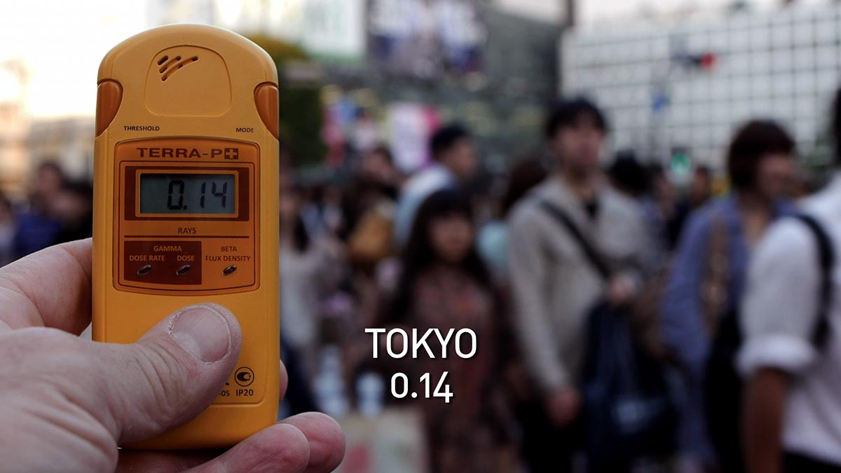 A geiger counter records the radiation level in Tokyo in a scene from PANDORA'S PROMISE.  Photo: Robert Stone