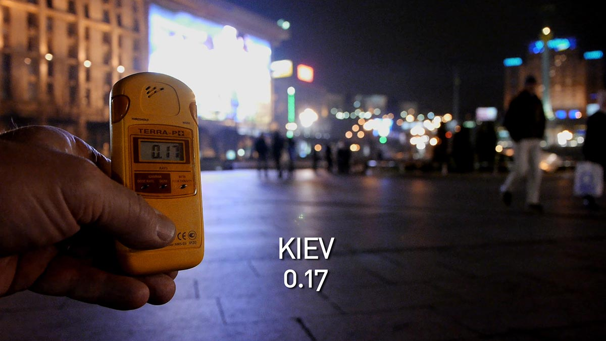 A geiger counter records the radiation level in Kiev in a scene from PANDORA'S PROMISE. Photo: Robert Stone