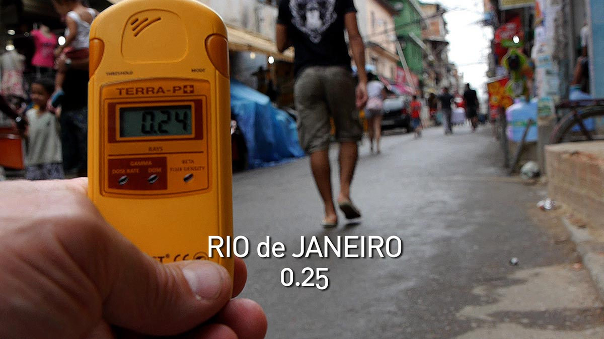 A geiger counter records the radiation level in Rio in a scene from PANDORA'S PROMISE.  Photo: Robert Stone