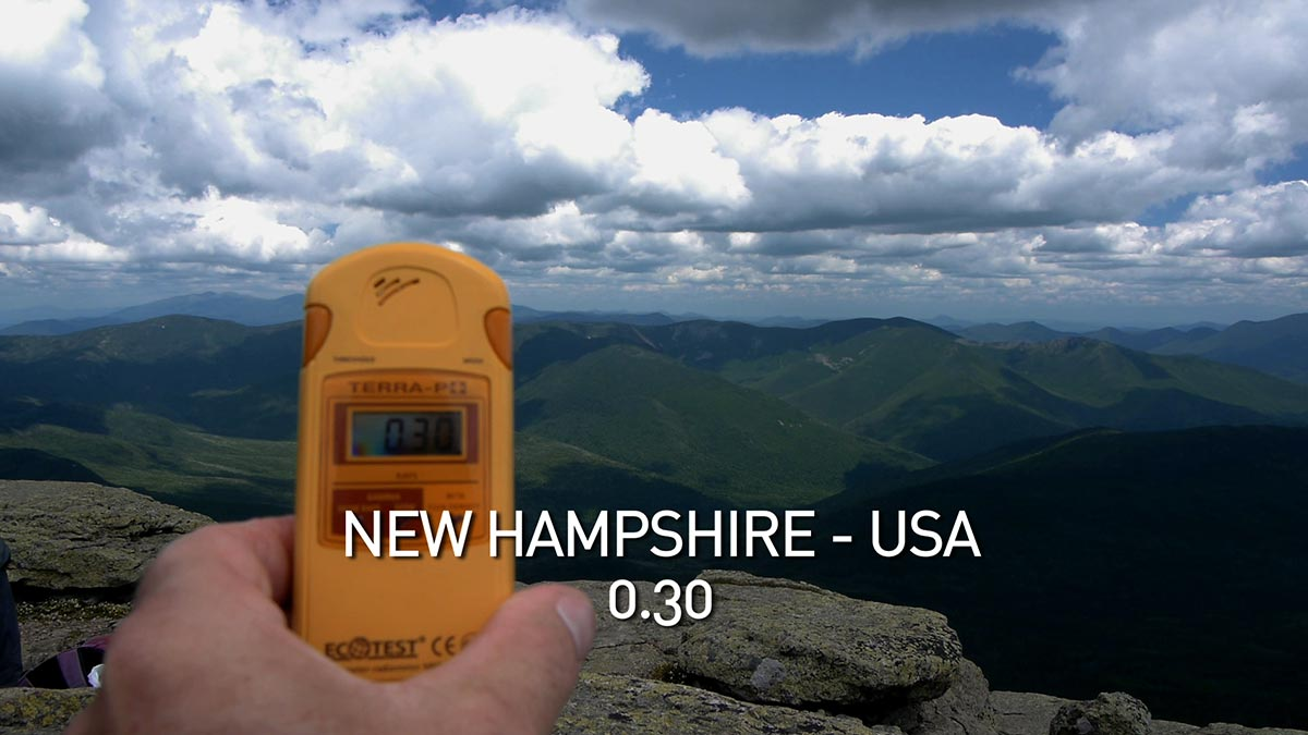 A geiger counter records the radiation level in the mountains of New Hampshire in a scene from PANDORA'S PROMISE.  Photo: Robert Stone